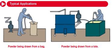 Esquema de funcionamiento de las bombas neumáticas para el transvase de polvo ARO